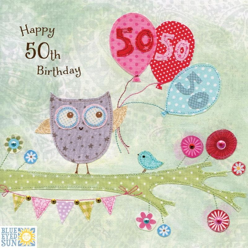 Owl Balloons 50th Birthday Card