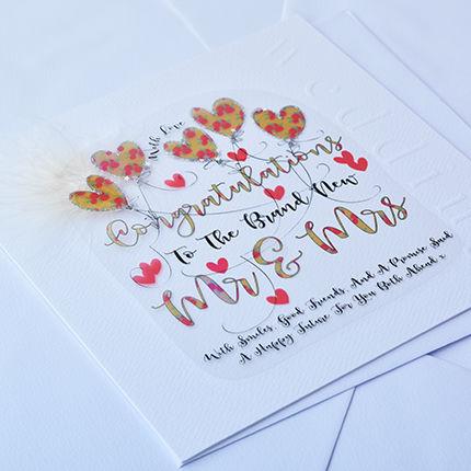 Handmade Congratulations Mr Mrs Wedding Card Large Luxury
