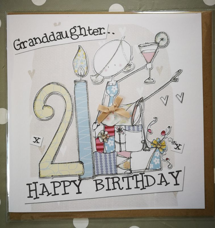 Hand Finished Granddaughter 21st Birthday Card