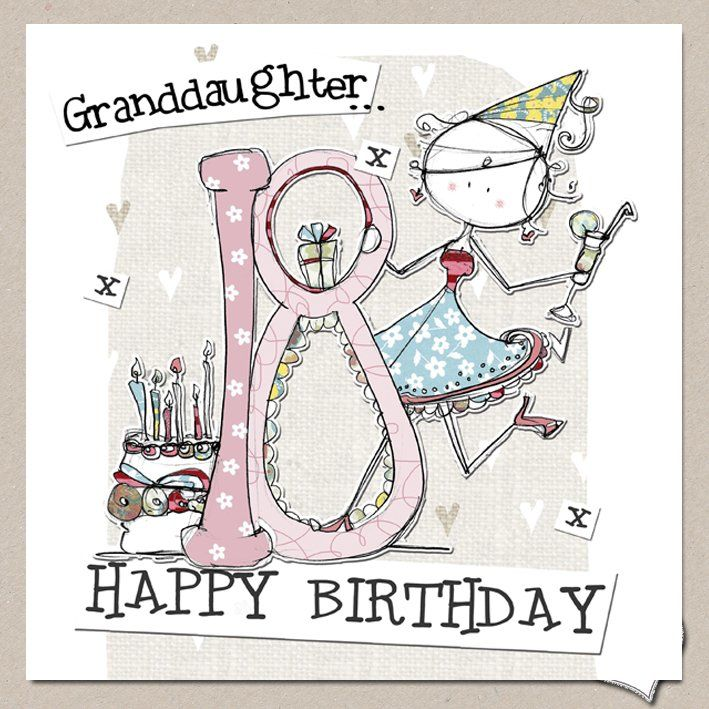 Hand Finished Granddaughter 18th Birthday Card