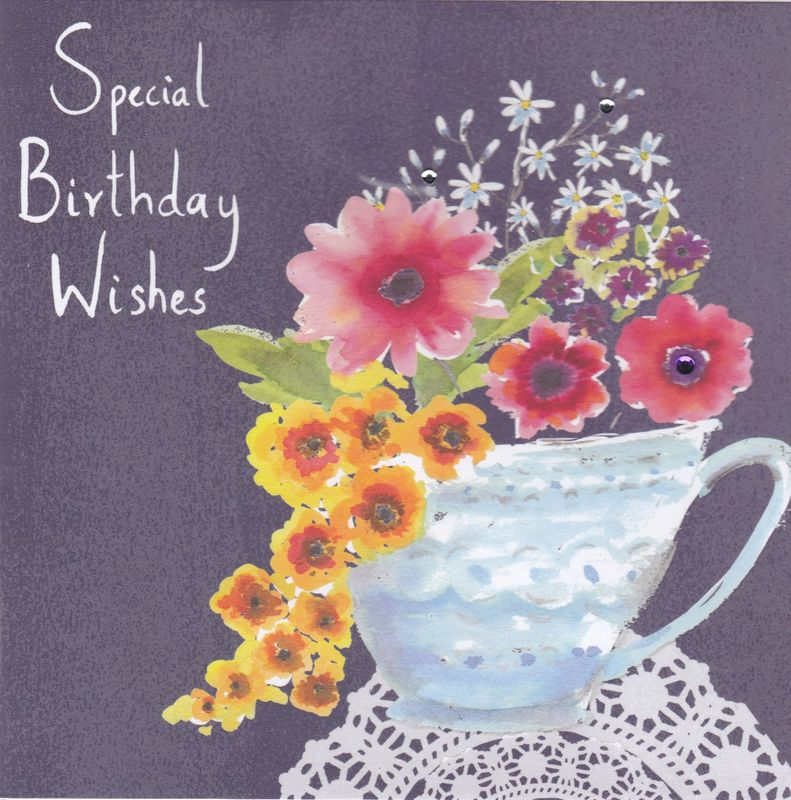 Flowers And Teacup Special Birthday Wishes Card