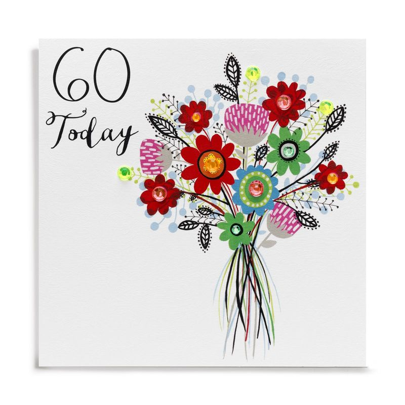 Hand Finished Bouquet Of Flowers 60th Birthday Card