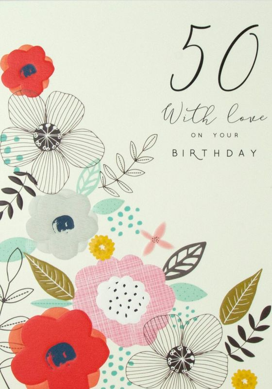 Floral 50th With Love Birthday Card