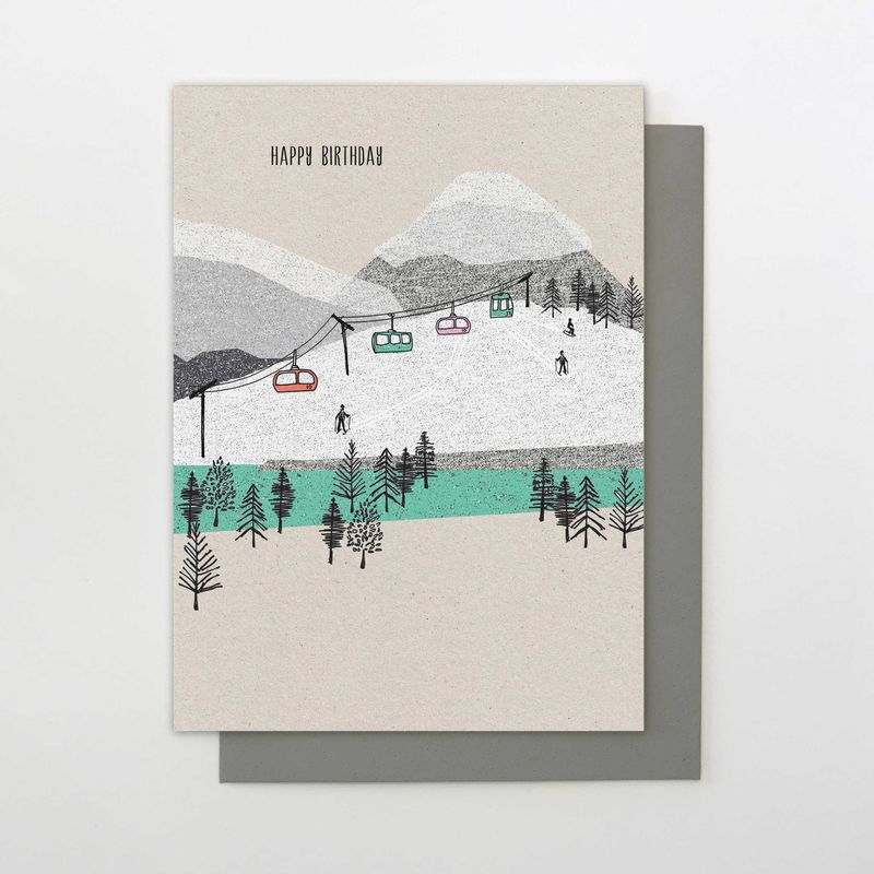 Mountain Cable Cars Birthday Card