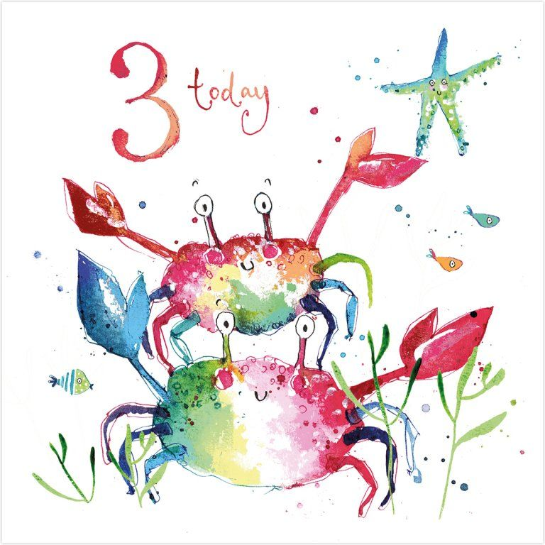Crabs 3 Today Birthday Card Karenza Paperie