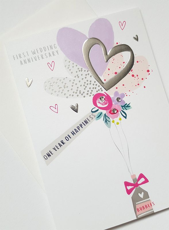 First Wedding Anniversary.Hand Finished One Year Of Happiness First Wedding Anniversary Card