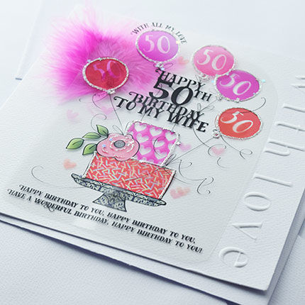 Handmade Wife 50th Birthday Cake Card