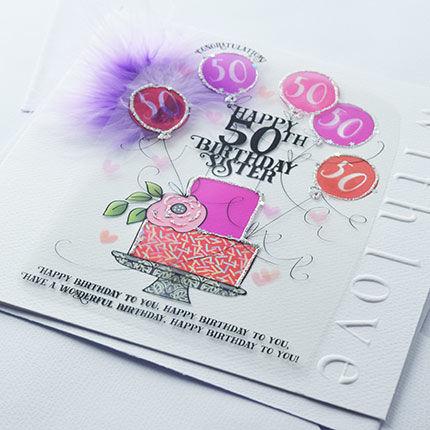 Handmade Sister 50th Birthday Cake Birthday Card Large