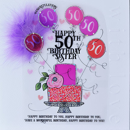 Handmade Sister 50th Birthday Cake Card