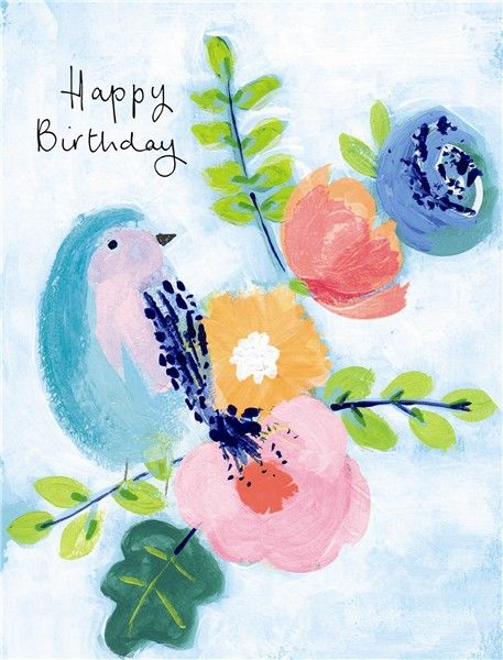 Bird Flowers Happy Birthday Card