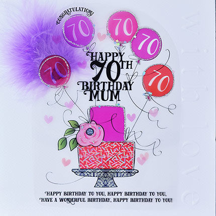 Handmade Mum 70th Birthday Cake Card