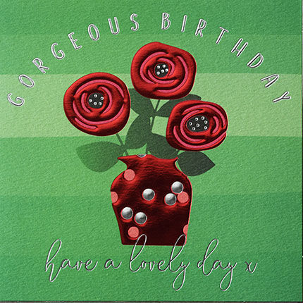 Red Roses In Vase Happy Birthday Card Karenza Paperie