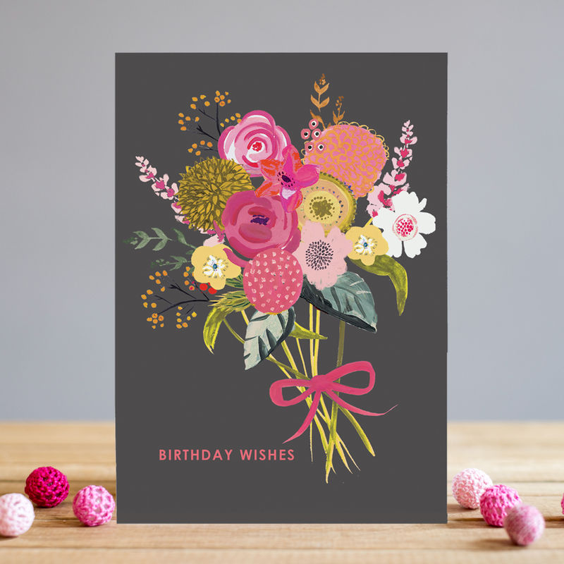 Bouquet Of Flowers Birthday Wishes Card