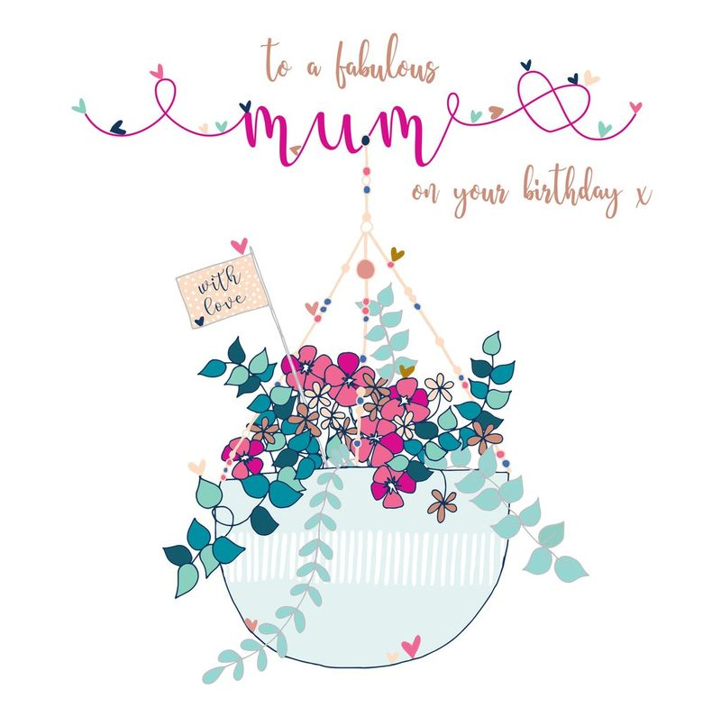 To A Fabulous Mum Birthday Card Large Luxury Birthday Card Karenza Paperie