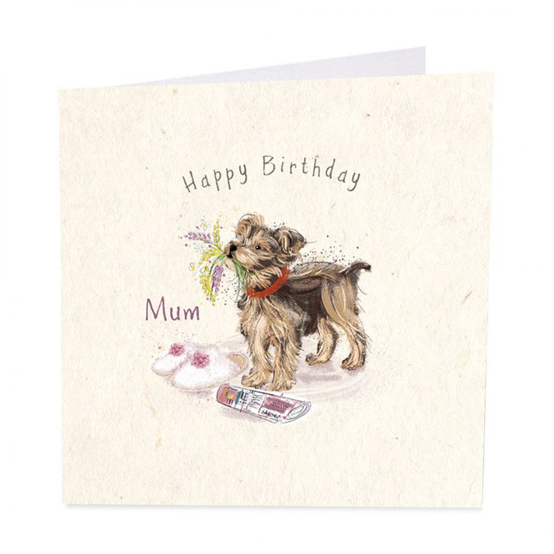 Dog Flowers Mum Happy Birthday Card