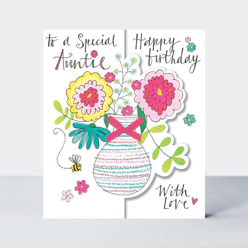 Vase Of Flowers Special Auntie Birthday Card