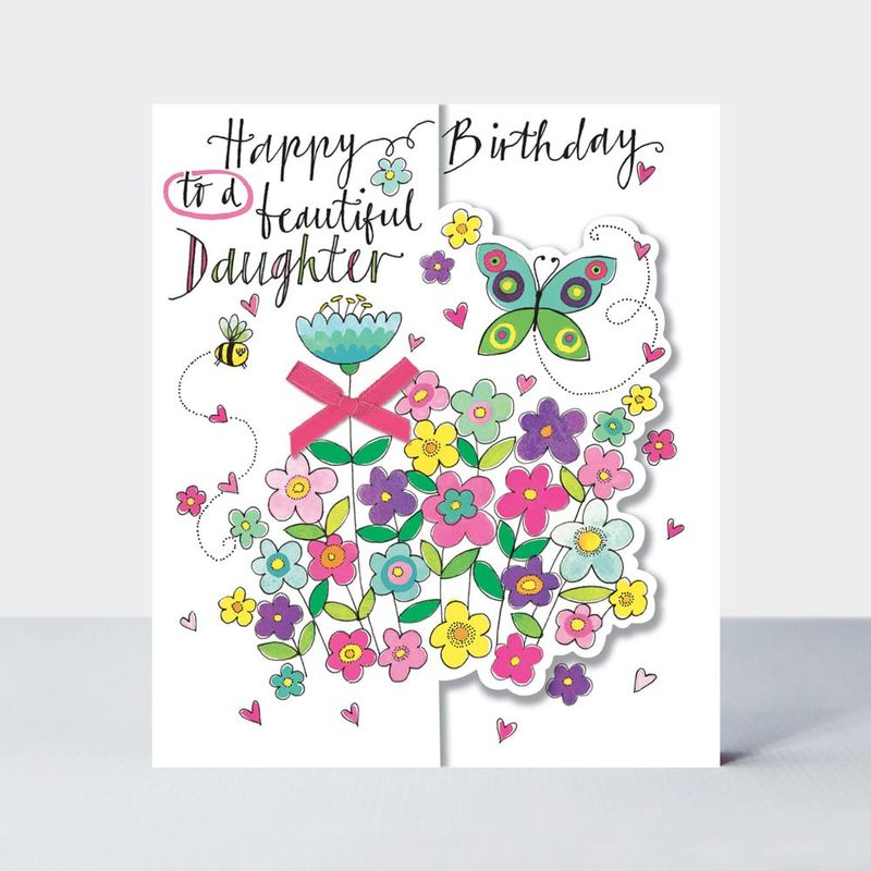 Butterfly Flowers Beautiful Daughter Birthday Card Karenza Paperie