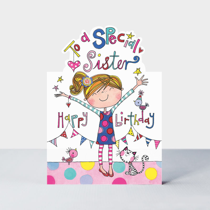 Girl And Cat Special Sister Birthday Card Karenza Paperie