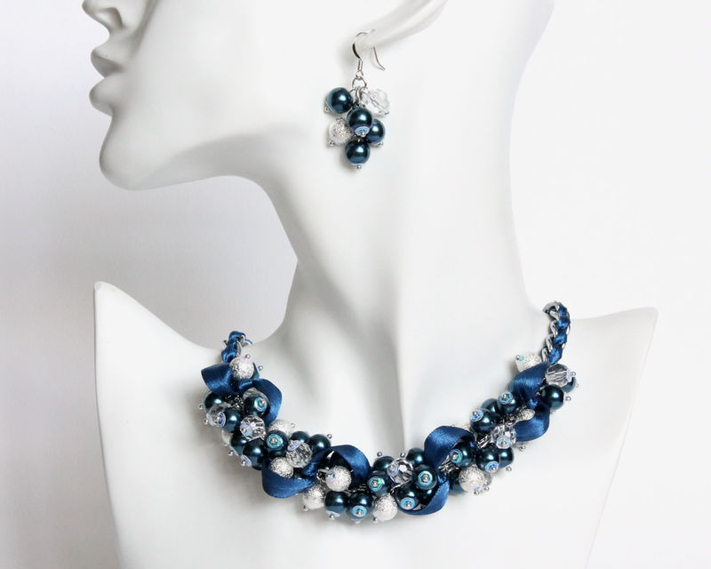 5863f6c74 Navy Blue Pearl Cluster Necklace and Earrings Set - product images of