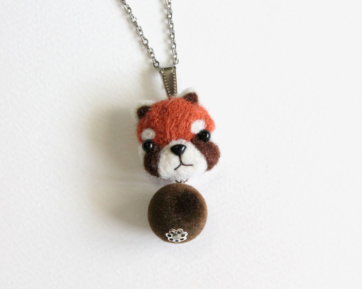 Needle Felted Red Panda Necklace Or Brooch Or Ring Or Shawl Pin Cissy Pixie
