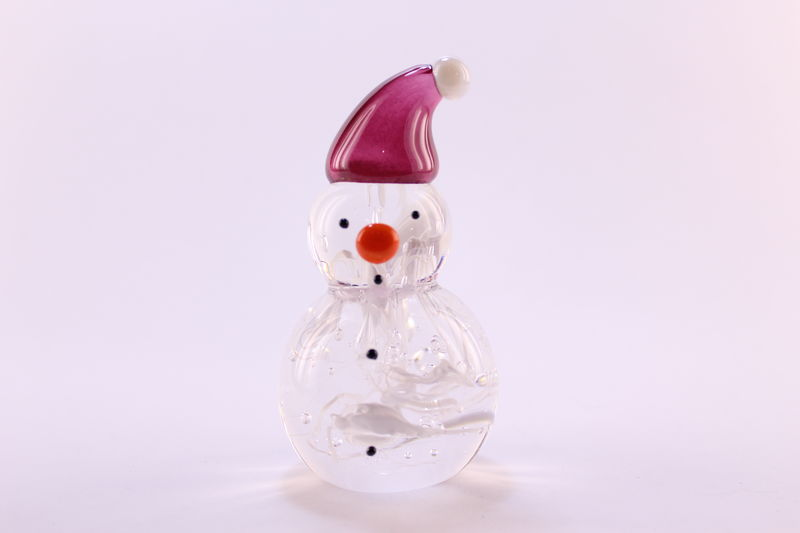 Nouveau Mini Snowman With A Cranberry Santa Hat Rossi Glass Niagara