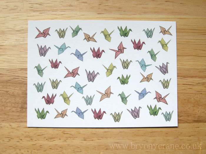 image about Origami Crane Instructions Printable called Patterned Origami Cranes Postcard Print