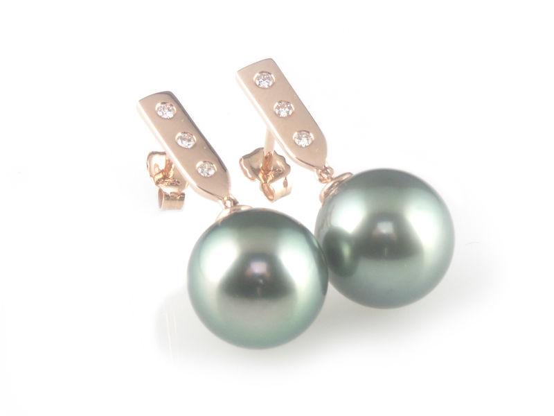 db7d44dc11121 'Pearl Wonder' - rose gold bar earrings with black/peacock tahitian pearls  and diamonds