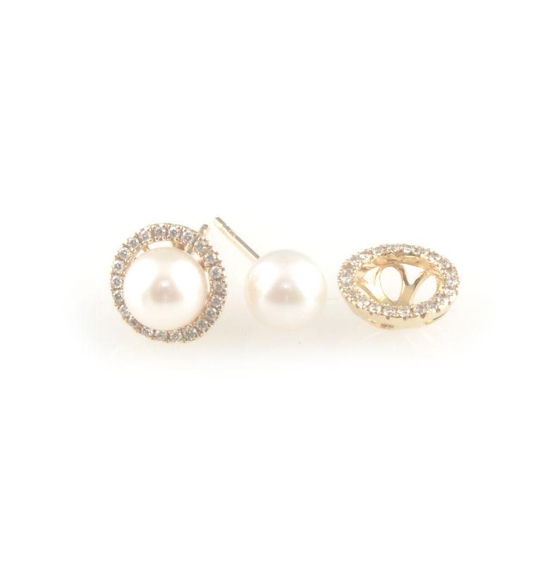 805c8ebdfdddc 'Pearl Wonder' - Akoya pearls gold ear studs with diamonds