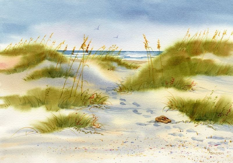 Moment Of Peace Beach Print From Watercolor Painting The