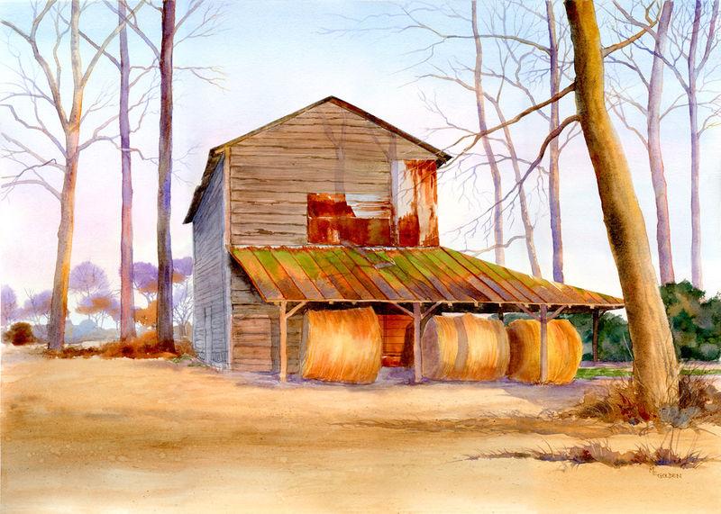 Golden Harvest of hay bales under tobacco barn in winter ...