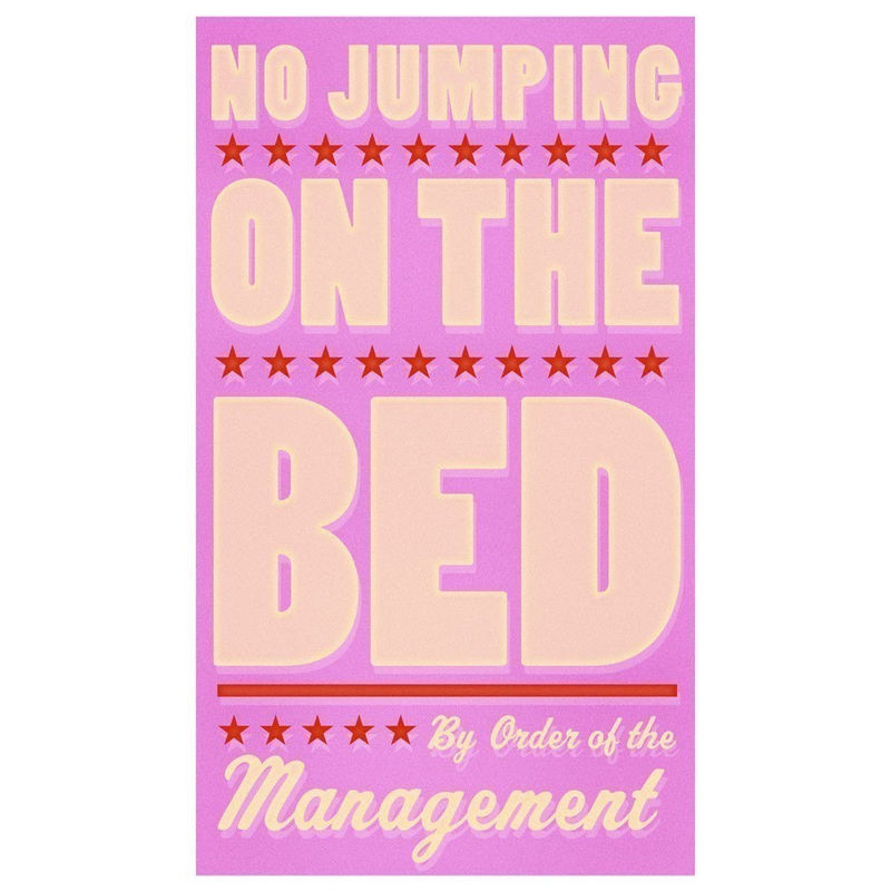 Girls Room Sign No Jumping On The Bed Pink Print 6 In