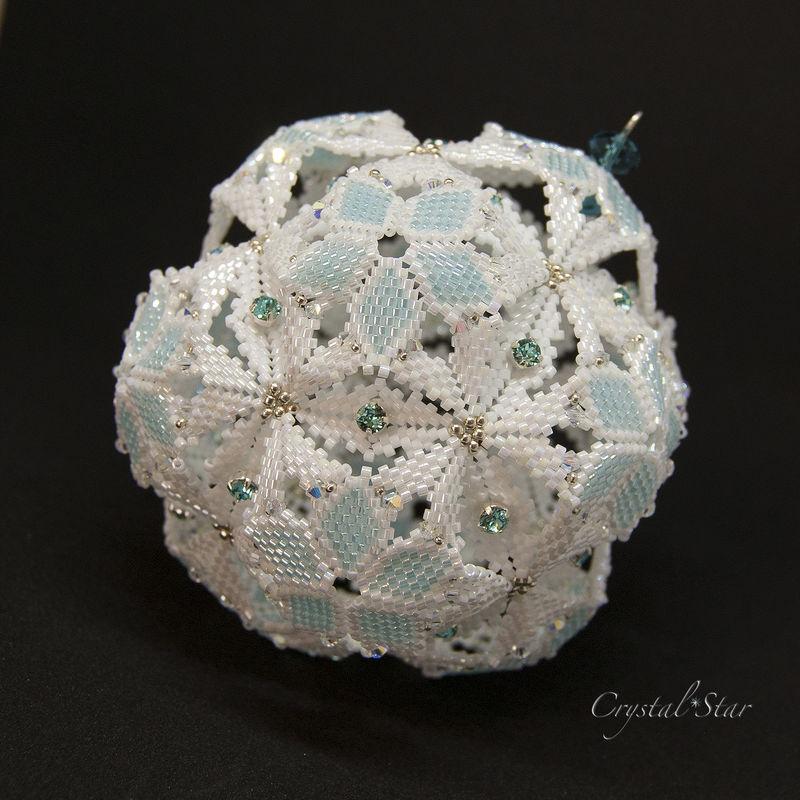 Beaded Christmas Ornaments.Snowball Dodecahedron Beaded Christmas Ornament