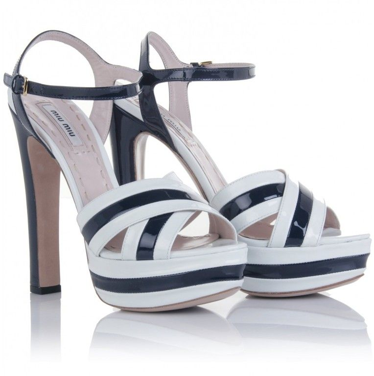 Miu Miu - Two-tone Patent Leather Sandals - product images of d413ec010a86