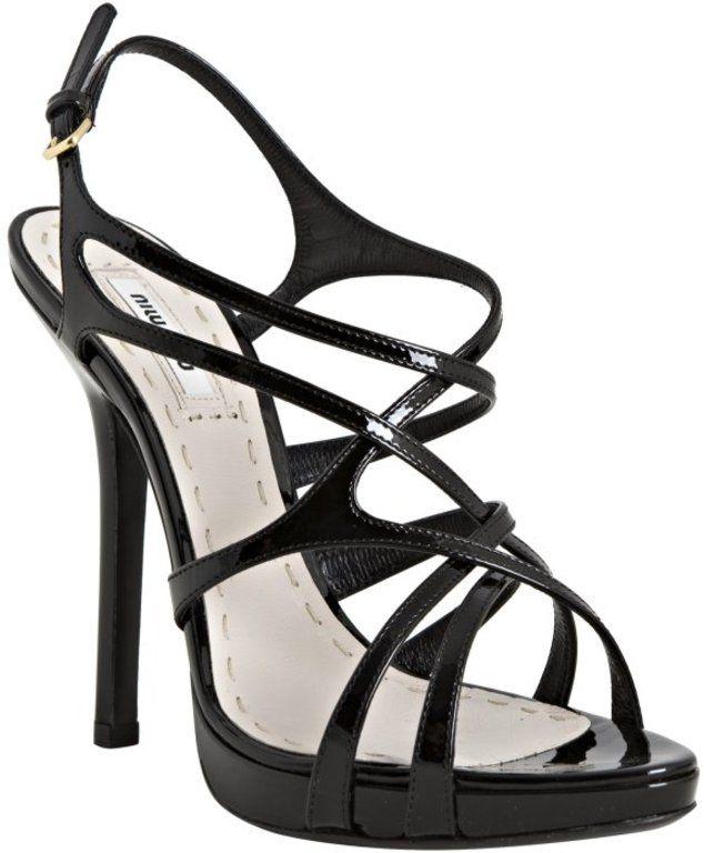 Miu Miu Black Leather Crisscross Strappy Sandals Cookoo