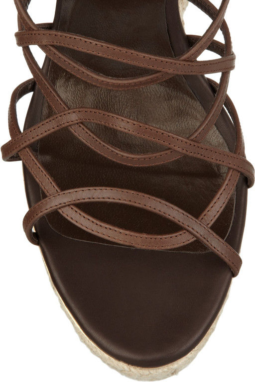 Roberto Cavalli Leather Espadrille Wedge Sandals Cookoo
