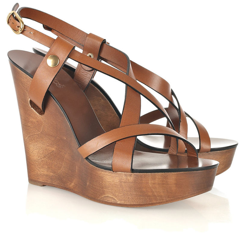 21ee5acd4d57e Chloé - Wooden Wedge Leather Sandals