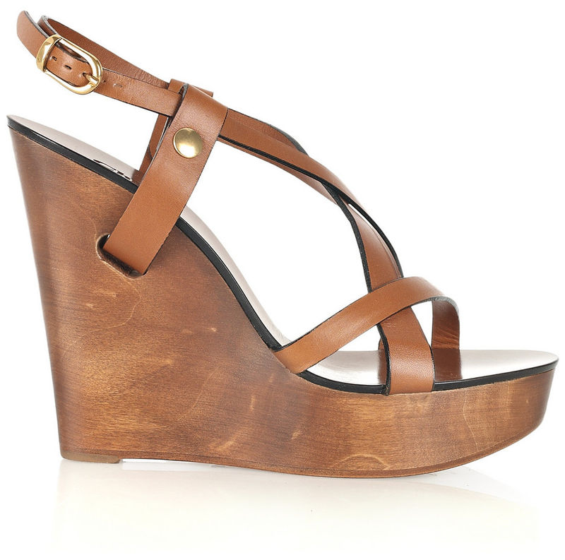 74e5b0f43bf3b Chloé - Wooden Wedge Leather Sandals - product images of