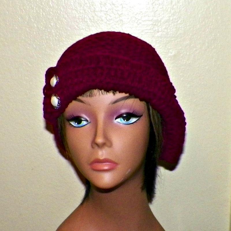 0884db24967 Burgundy Red Cloche Hat Flapper Womens Buttons And Bow Downton Abby  Freeform Beanie Crochet Gatsby Bucket 1920s Style - Wild Irish Rose Crochet