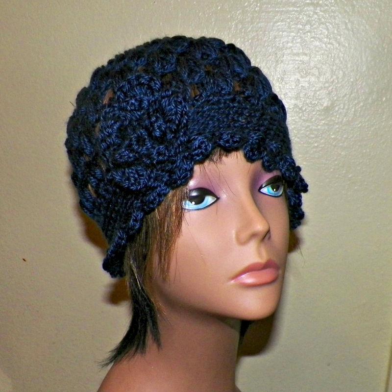Navy Blue Cloche Hat Flapper Womens Downton Abby Freeform Beanie Cream  Crochet Gatsby Bucket 1920s Style - Wild Irish Rose Crochet c1fdae0ee4f