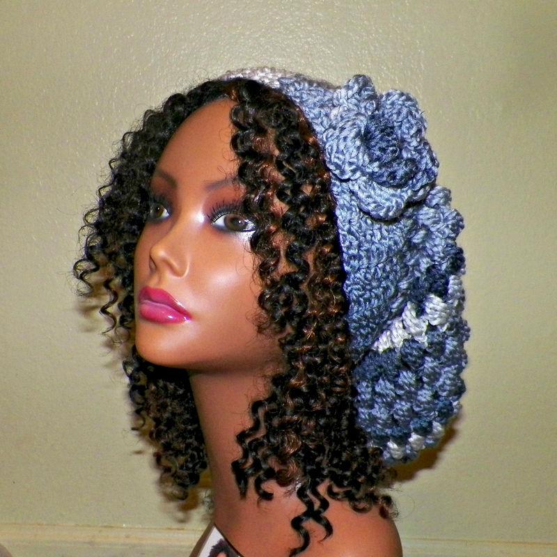 f98a0a51095 Slouchy Hat Womens Chunky Winter Crochet Hippie Rainbow Blue White Tam  Beret Boho Summer Beanie - Wild Irish Rose Crochet