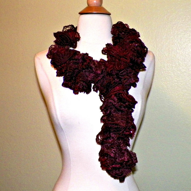 Ruffle Sashay Scarf Crochet Dark Red Burgundy Sequin Boa Extra Long