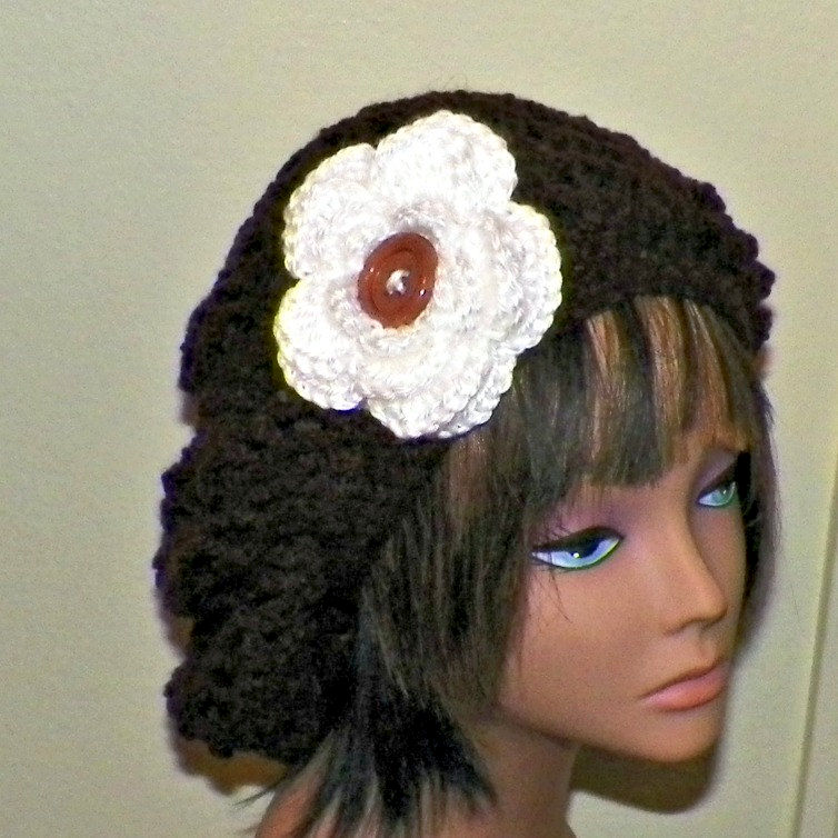 fbdd2ebef0ab5f Slouchy Hat Summer Crochet Womens Tam Beret Boho Chunky Open Weave Brown  With White Flower Beanie Rasta - Wild Irish Rose Crochet