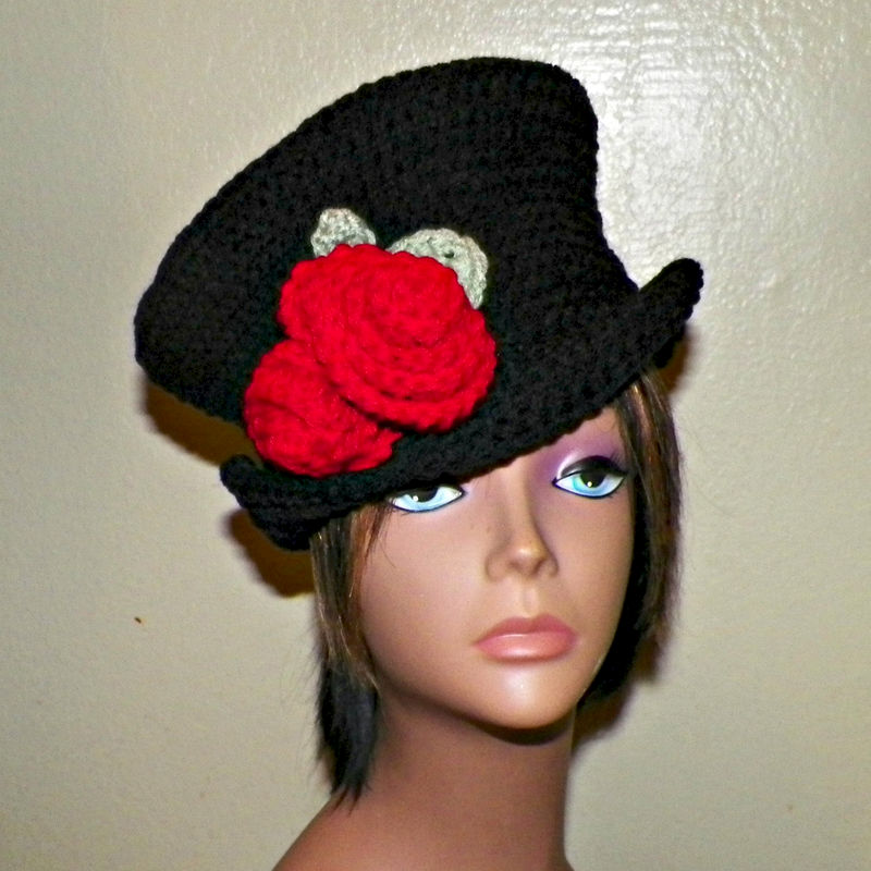 Womens Black Cloche Hat Downton Abby Flapper Crochet Gatsby Bucket With Red  Flower Roses Top Hat 1920s Style - Wild Irish Rose Crochet 668a9a59c09
