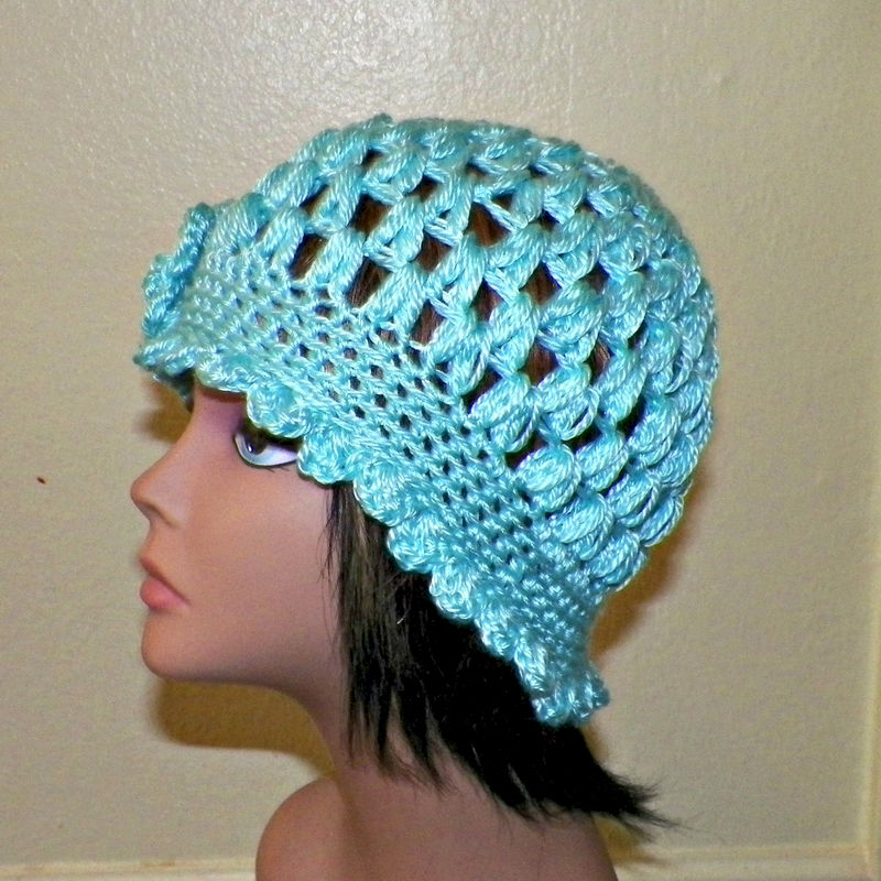 e2802d98d8625 Blue Cloche Hat Flapper Womens Downton Abby Freeform Beanie Crochet Flower  Gatsby Bucket 1920s Style - Wild Irish Rose Crochet