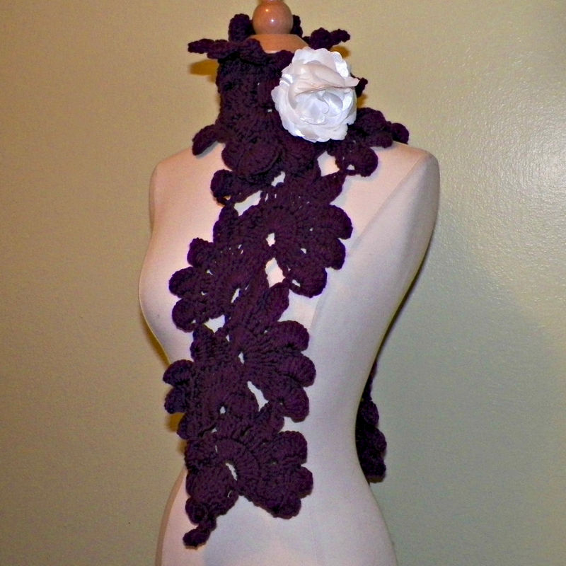 802d002040a Purple Scarf Shawl Freeform Sashay Leaves Flower Lace Crochet Wide Lariat  Neckwarmer With Flower Brooch