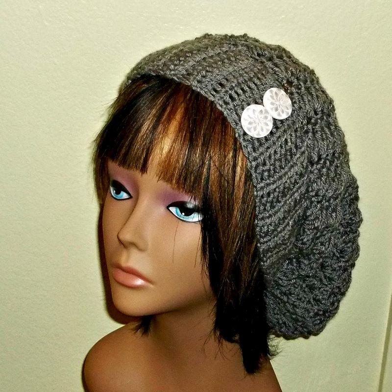 64144135ad1 Slouchy Crochet Hat Rasta Heather Gray With White Buttons Womens Tam Beret  Boho Chunky Beanie - Wild Irish Rose Crochet