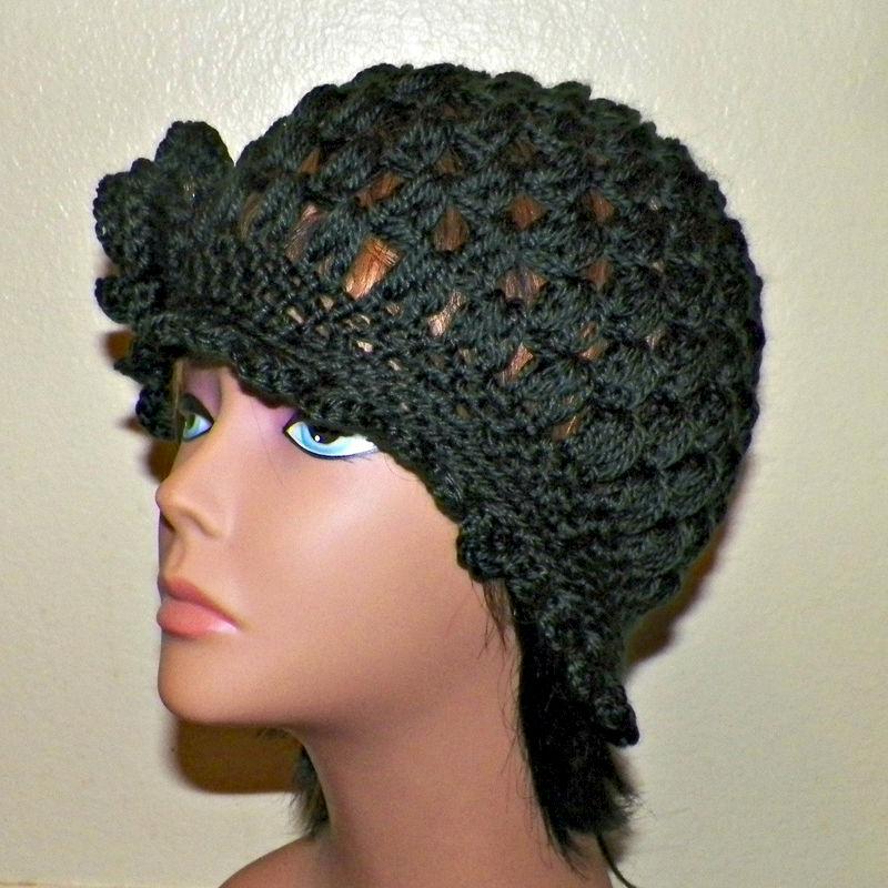 3dda9595dd6 Black Cloche Hat Flapper Womens Downton Abby Freeform Beanie Crochet Flower  Gatsby Bucket 1920s Style - Wild Irish Rose Crochet