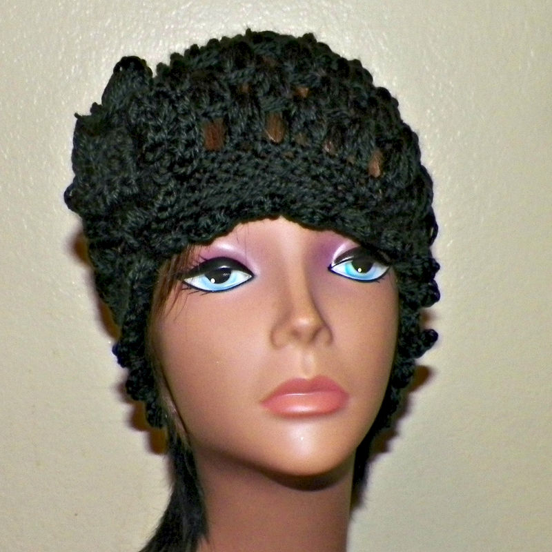 4de25e8cb00 Black Cloche Hat Flapper Womens Downton Abby Freeform Beanie Crochet Flower  Gatsby Bucket 1920s Style -