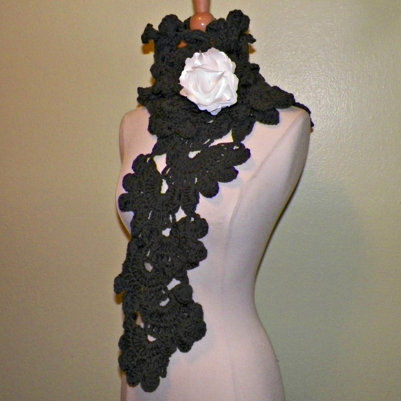 11636387d12 Gray Scarf Sashay Shawl Leaves Flower Freeform Lace Crochet Wide Lariat  Neckwarmer With Flower Brooch