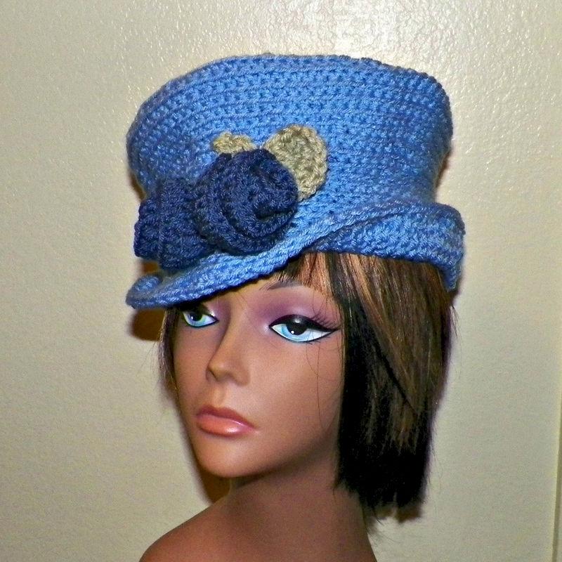79c1f95bdba15 Flapper Cloche Hat Womens Downton Abby Blue Crochet Gatsby Bucket Top Hat  1920s Style - Wild Irish Rose Crochet